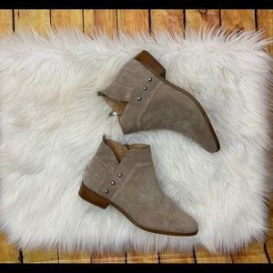 Franco Sarto Robin taupe suede ankle booties